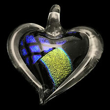 Dichroic Heart Pendant w/ Cord / Gifts for Her / Friend Gift / Valentines #50