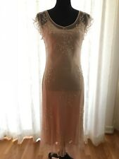 SUE WONG Beautiful Women's Nude Beaded Lace Evening Cocktail Party Dress Size 8