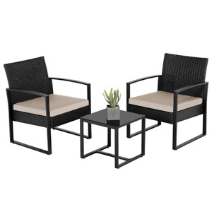 3-Piece Bistro Set with Rattan Chairs for Outdoor Patio and Balcony