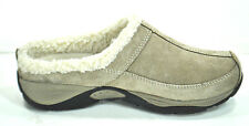 Easy Spirit 6M Women's EXCHANGE Taupe Leather Suede Faux Fur Mules CLogs NEW