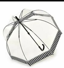 Hounds tooth  border  Domed umbrella by Fulton.