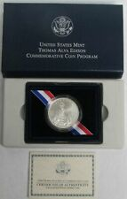 2004 P SILVER THOMAS ALVA EDISON COMMEMORATIVE UNC $1 COIN BOX COA 3C2