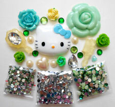 DIY 3D Kitty Green Bling Bling Flatback Cabochons Cell Phone Case Deco Kit