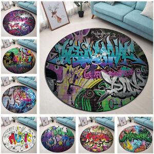 Hip Hop Music Vintage Graffiti Room Round Floor Mat Living Room Area Rugs Carpet