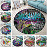 Hip Hop Music Vintage Graffiti Room Round Floor Mat Living Room Area Rugs Carpet