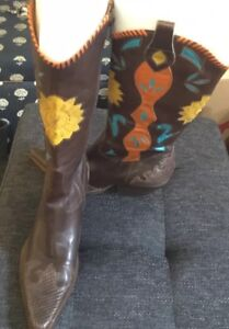 BCBG Women's Leather Cowboy Boots Shoes Multi Colored w/Turquoise  Sz. 7