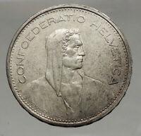 1966 Switzerland Founding HERO WILLIAM TELL 5 Francs Silver Swiss Coin i56742