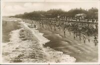 Postcard Lincolnshire Cleethorpes beach People Paddling Real photo Unposted