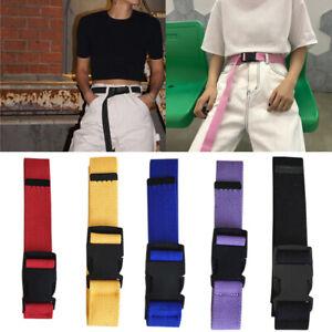 Vintage Women Men Unisex Nylon Canvas Waist Plastic Belt Buckle Adjustable