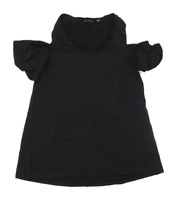 H By Halston Womens Size S Black Cold Shoulder Top (Regular)