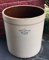 Vintage Antique Stoneware 4 Gallon Crock Large Beige Crown LOCAL PICKUP ONLY