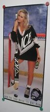 Vintage Molson Ice Beer Poster Hockey Stick Blond Girl Sexy 38x17