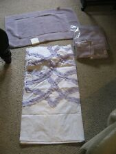 POTTERY BARN KIDS LAVENDER RUFFLE SHOWER CURTAIN/3 LAVENDER TOWELS AND LAVENDER