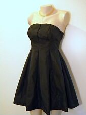 NWOT VICTORIA SECRET PLEATED STRAPLESS MINI DRESS w/ CORSET WAIST, S / 4, Black