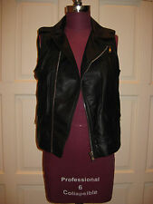 RICK OWENS Stooges Black Leather biker Sleeveless Jacket 42 US 8 NWT$1.8K vest