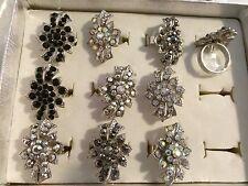 11 Rings Wholesale Jewelry Lot Rhinestone  Flower Fashion Rings