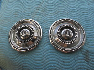 """Vintage 1965 Plymouth 14""""? HubCaps Hub Cap Set Of 2 Very Good Condition"""