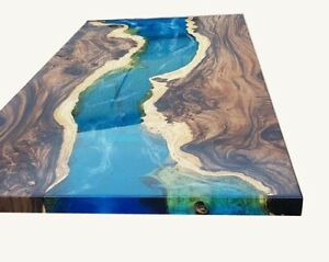 """24""""x48"""" Epoxy Table Blue Ocean Resin Deep Water River With 18"""" Iron Stand Decors"""