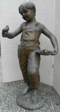 Bronze Statue of a Boy With Bird