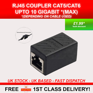 1x RJ45 CAT5 CAT6 Coupler Network Cable Joiner LAN Extender Adapter Connector UK