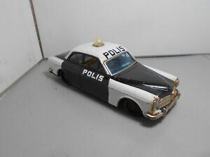 BANDAI Made in Japan VOLVO AMAZON POLIS POLICE car white black tin plate 21cms
