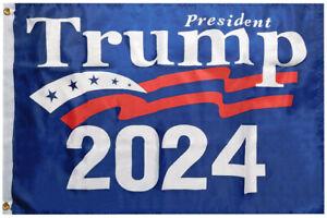 President Trump 2024 Blue Premium 100D Woven Poly Nylon 5x8 5'x8' Flag Banner