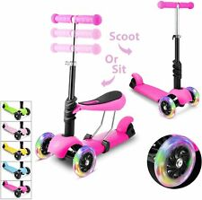 2-in-1 Scooter with Removable Seat LED Wheel for Kids Toddler Girls/Boys Gifts