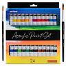 int!rend Acryl Farben Set, 24 wasserfeste Malfarben je 12 ml + 2 Pinsel
