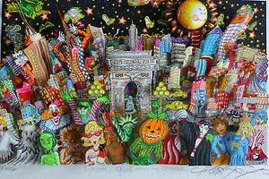 CHARLES FAZZINO Ghosts good times and gridlock 3D DX SERIGRAPH HAND SIGNED
