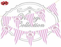 Vintage Print Happy Birthday Candy Pink & White Stripes Bunting Banner 15 flags