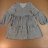 Women's Size Medium Black White Gingham Check Long Sleeve Tiered Dress NWOT