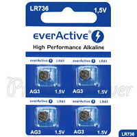 4 x everActive AG3 LR41 Alkaline batteries LR736 192 392 1.5V GREAT VALUE