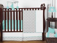 Bumperless Unique Gray Turquoise White Chevron Baby Boy Or Girl Crib Bedding Set