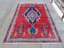 Vintage Hand Made Traditional Oriental Wool Red Blue Large Rug 235x164cm
