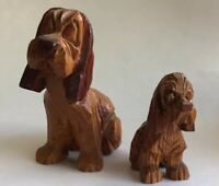 Vintage Hand Carved Folk Art Wood Basset Hound Dog & Puppy Figurines Woodworking
