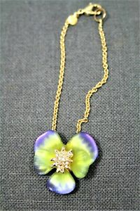 NEW - ALEXIS BITTAR IRIDESCENT CARVED LUCITE OPHELIA PANSY BRACELET - PERIWINKLE