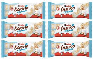 6 x KINDER BUENO COCONUT White Chocolate Wafers with Hazelnut Cream 39g 1.38oz