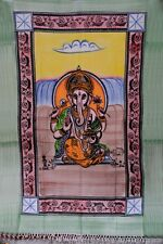 Indian Hand Painted Lord Ganesha Tapestry Cotton Wall Hanging Twin Wall Decor