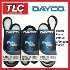 Dayco Fan Belt Kit (3 Belts) Landcruiser Prado VZJ95R 07/96 - 02/03 3.4 5VZ-FE
