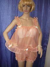 M-L sexy Sissy Peach BABY DOLL Play Set Cameriera Camicia da Notte Mutandine COMPLETA MAXI CD-TV