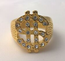 G-Filled Men's 18kt yellow gold simulated diamond dollar ring bling hip hop Pimp