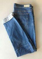 AG Women's Size 27 Cigarette Roll-Up Low Rise Skinny Leg Denim Blue Jeans
