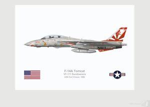 Warhead Illustrated F-14A Tomcat VF-111 Sundowners 200 Aircraft Print