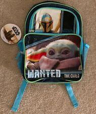 "New listing Star Wars 16"" Cargo Backpack Mandalorian Baby Yoda Wanted Front Pocket"