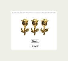 4 St. 3d gioielli per Unghie Decorazione Nail Art Oro Motivo Rose n271