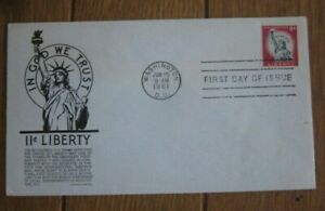 STATUE OF LIBERTY 11c RED STAMP ANDERSON BLACK CACHET FDC 1961 VF UNADDRESSED