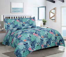King or Full/Queen Tropical Monstera 3-Piece Quilt Bedding Set, Teal Pink