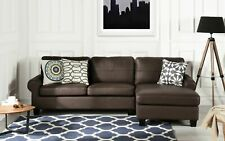 Leather Match Dark Brown Sectional Sofa L-Shape Modern Couch Removable Cushions