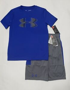 BOY'S SIZE Medium (10-12) UNDER ARMOUR SHIRT & SHORTS 2 PIECE SET NWT