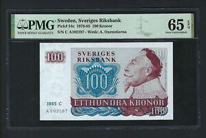 Sweden 100 Kronor 1985 P54c Uncirculated Graded 65